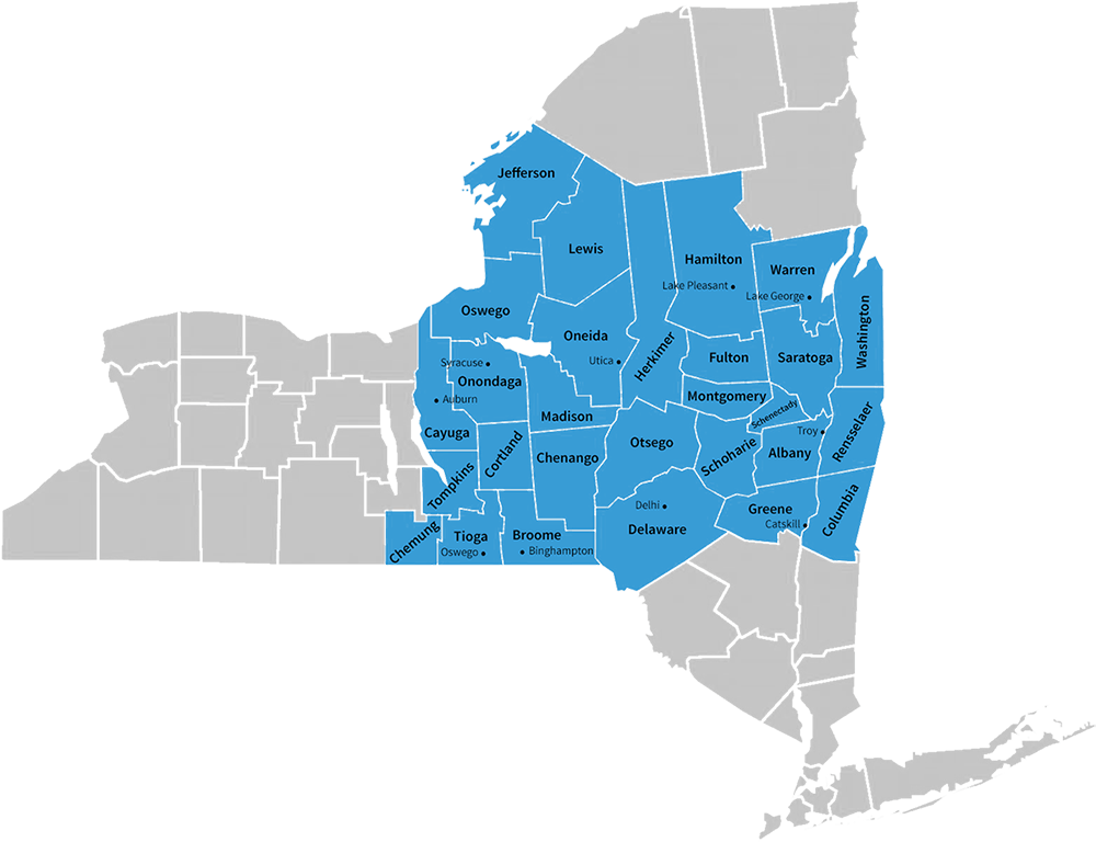 Confidata's NY Service Area map